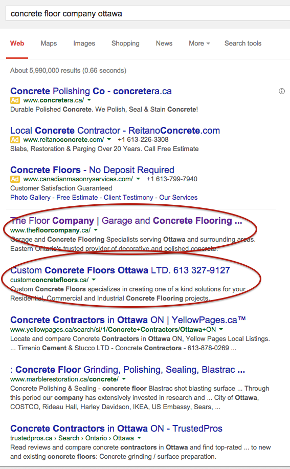 Ranking 1 and 2 for Concrete Floor Company Keyword – Ottawa