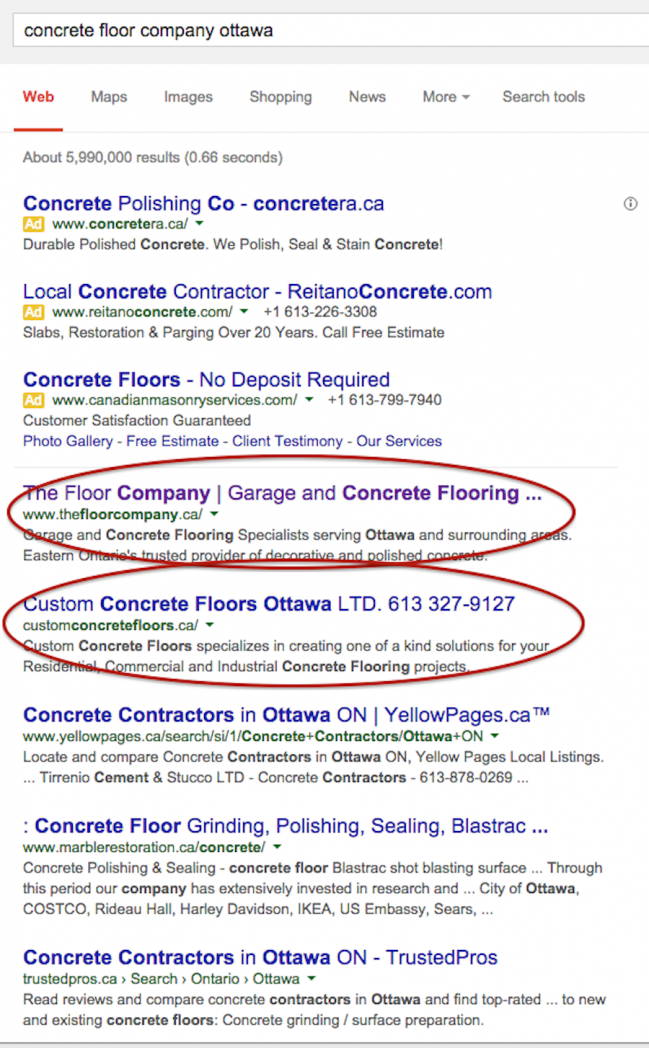 the floor company custom concrete floors seo keyword rank