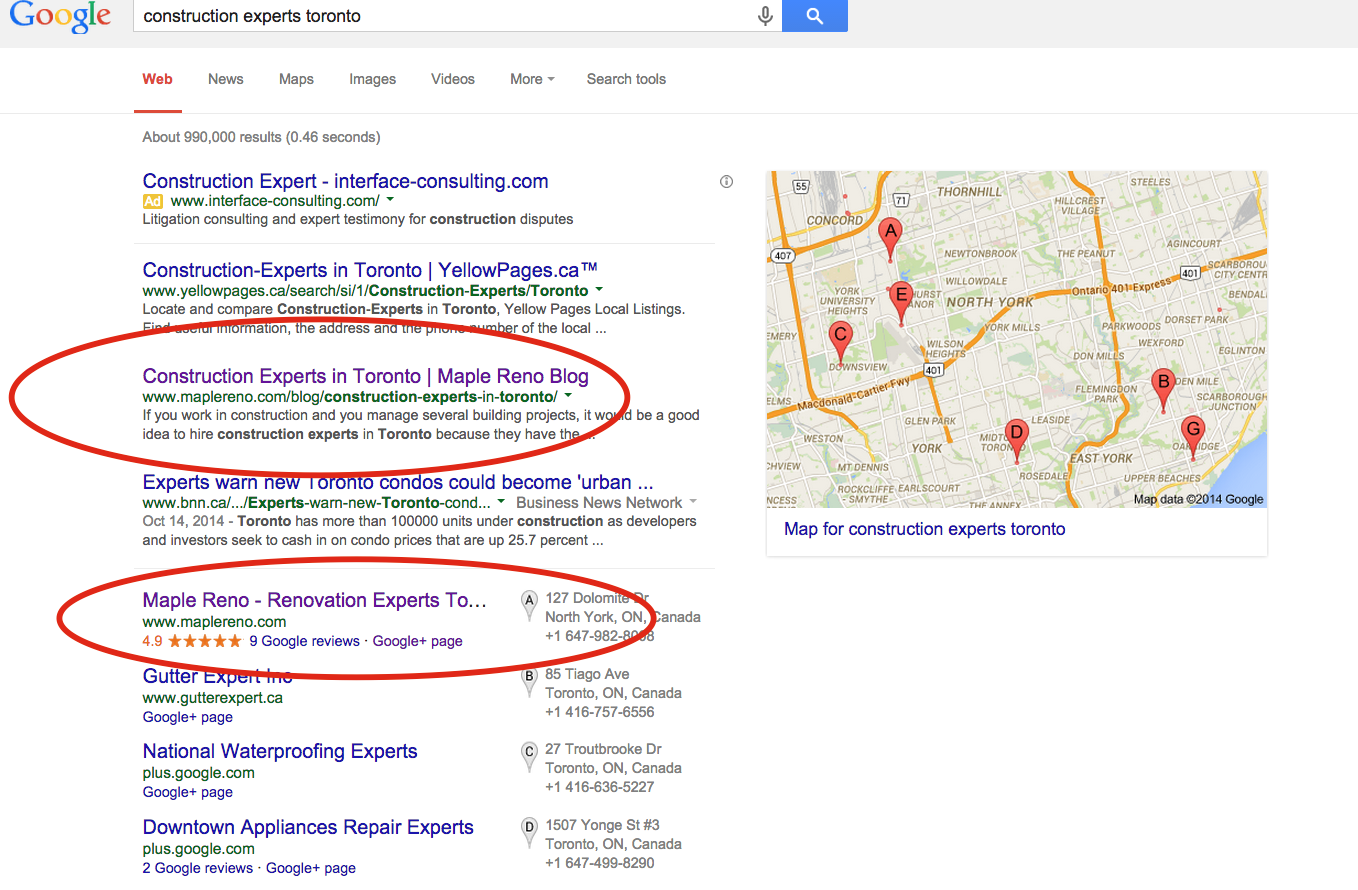 Construction Experts Toronto, Rankings, Google Page 1, SEO
