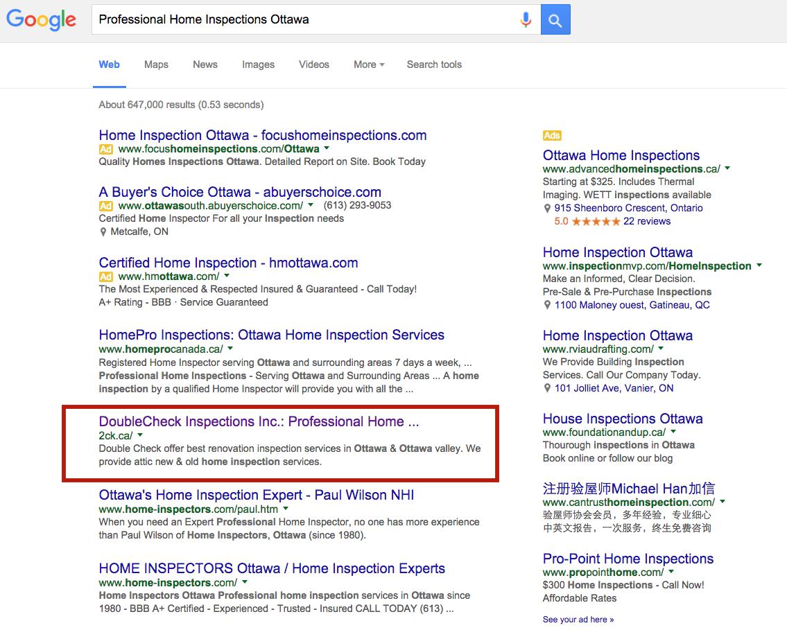 seo rankings ottawa