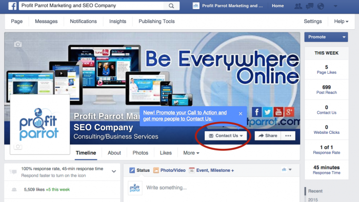 how to create a facebook business page call to action button