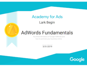 adwords certification google lark begin