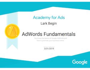 adwords certification google lark begin