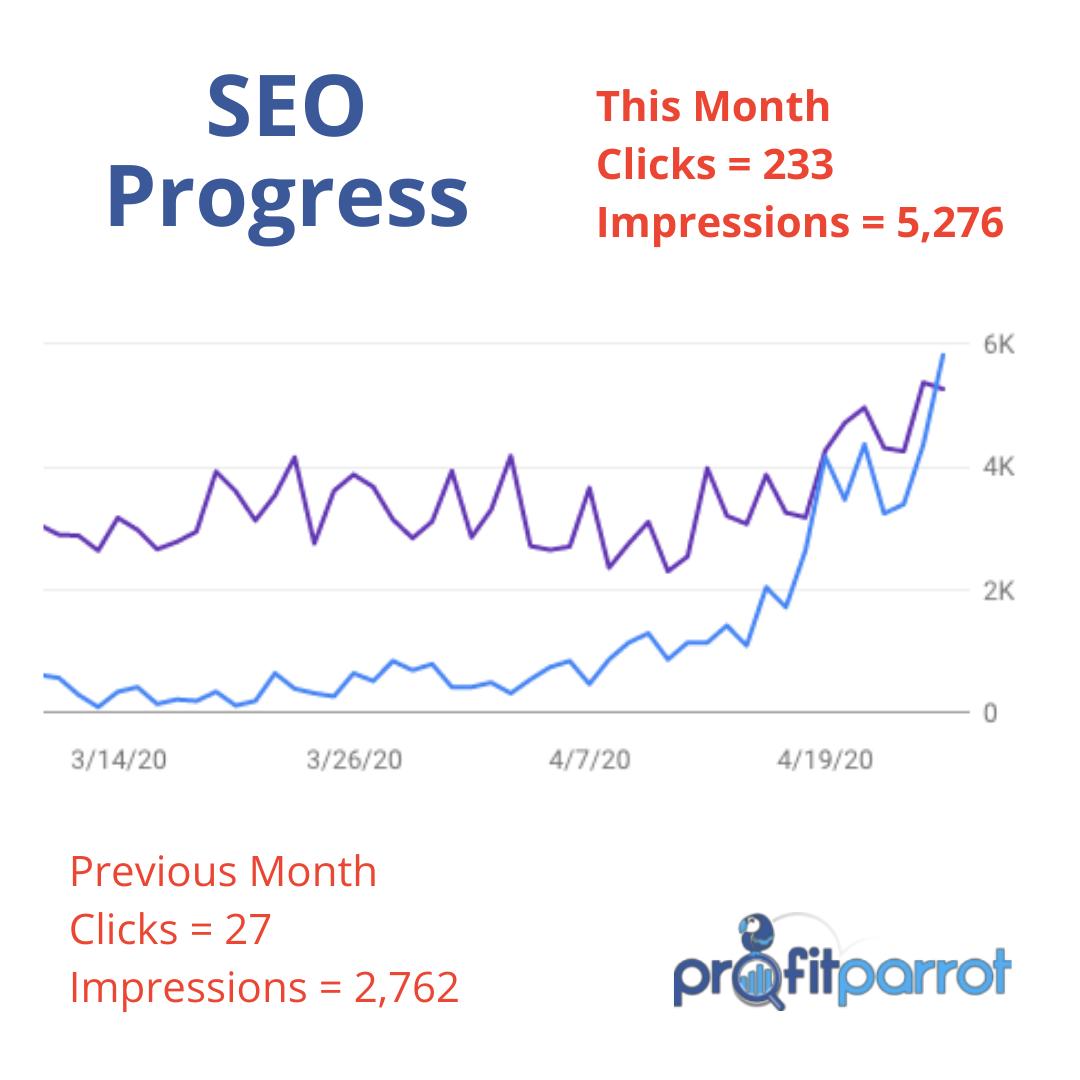 profit parrot ottawa seo company progress impressions clicks